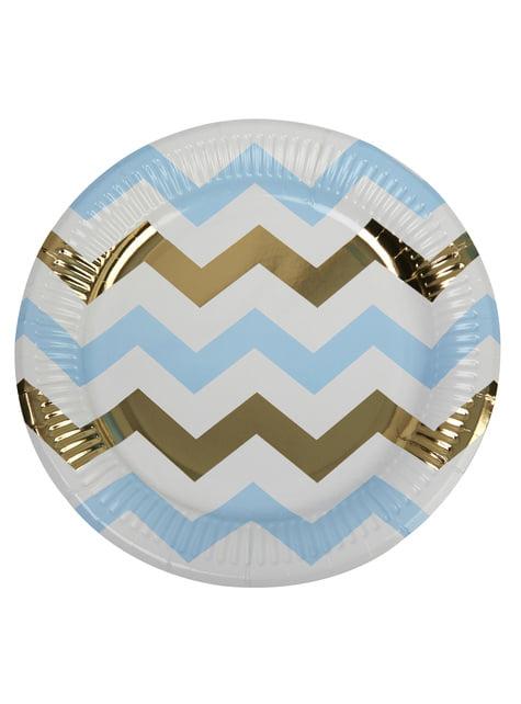 8 platos de zigzag azul y dorado (23 cm) - Pattern Works Blue - para tus fiestas