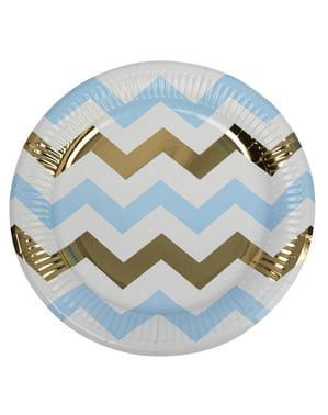 8 piatti zig zag blu e dorati di cart (23 cm) - Pattern Works