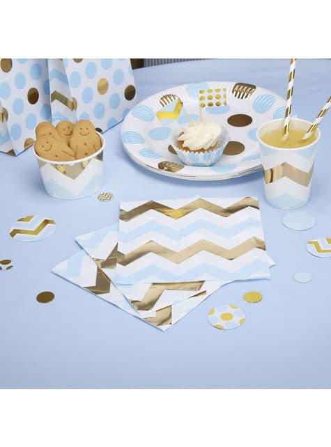 16 servilletas de zigzag azul y dorado (33x33 cm) - Pattern Works Blue