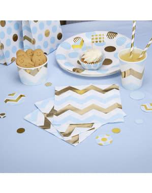 16 serviettes zigzag bleus et dorés en papier - Pattern Works