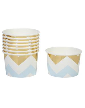 青と金のジグザグ - パターン作品と8紙の浴槽のセット