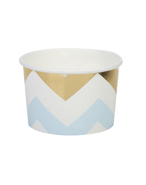 8 paper tubs with blue and gold zig zags - Pattern Works