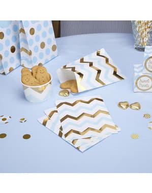 25 sachets en papier zigzag bleu et doré en papier - Pattern Works