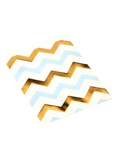 25 bustine di carta zigzag blu e dorato di carta - Pattern Works
