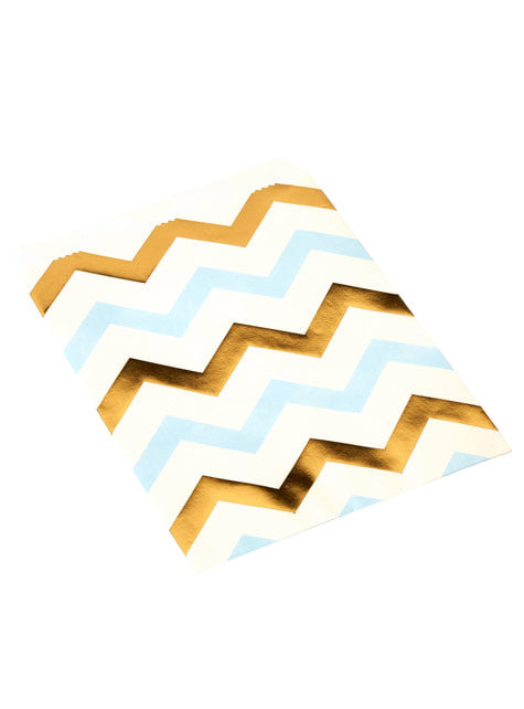 25 little paper bags with blue and gold zig zags - Pattern Works