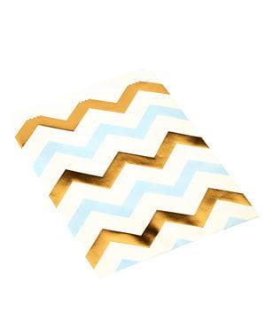 25 kleine papieren zakjes met blauwe en gouden zigzags - Patroon Werken