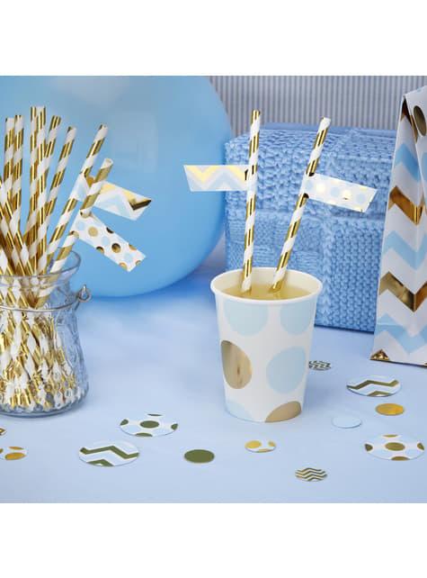 30 pegatinas para pajitas azul y dorado - Pattern Works Blue