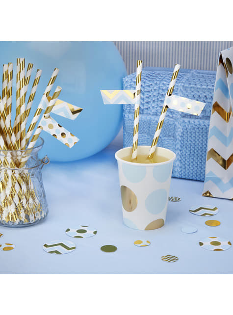 Set of 30 straw stickers in blue and gold - Pattern Works