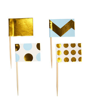 20 palitos decorativos azuis e dourados de papel - Pattern Works