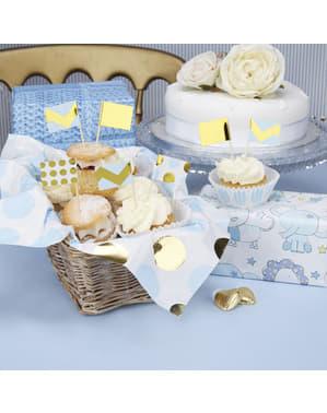 20 papir dekorative tandstikker i blå og guld - Pattern Works