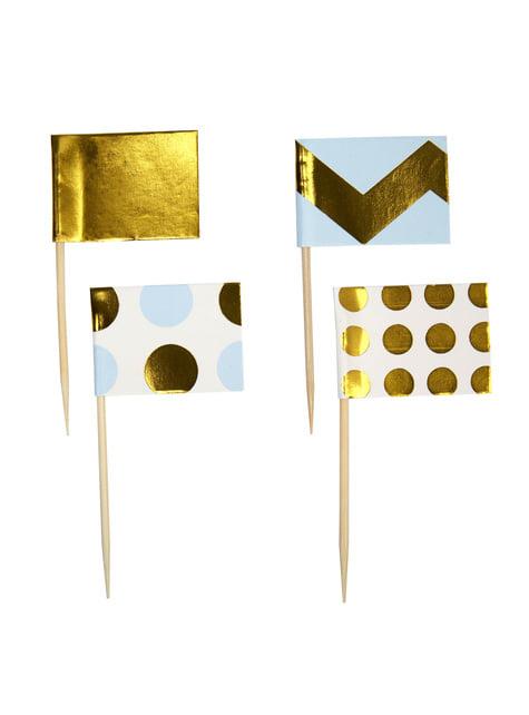20 pics décoratifs pour gâteau bleus et dorés en papier - Pattern Works