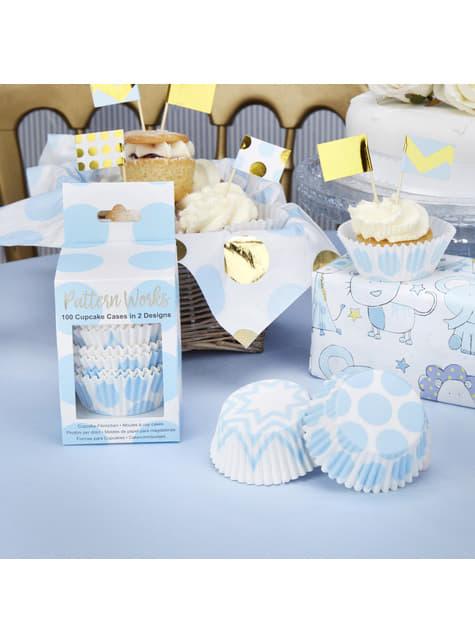 100 moules à cupcakes bleus en carton - Pattern Works