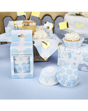 100 cápsulas de cupcakes azules - Pattern Works Blue