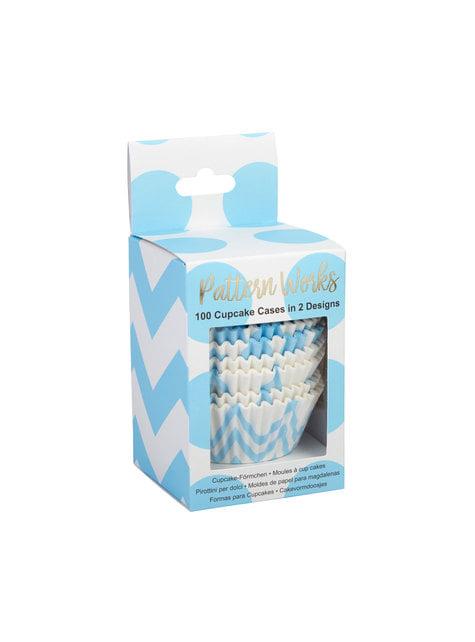 10 košíčků na cupcaky modrých - Pattern Works Blue