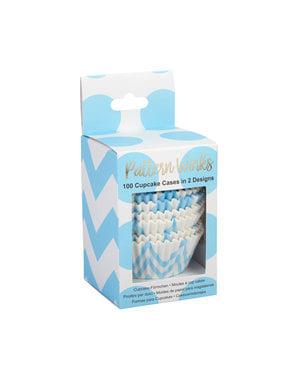 100 blå Muffinforme- Pattern Works Blue