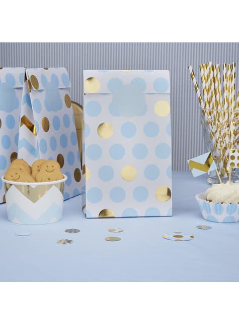5 sachets en papier à pois bleus et dorés  - Pattern Works