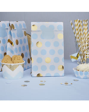 5 Paper Party Bags with Blue & Gold Dots - Pattern Works