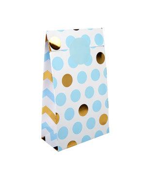 5 sacos de papel de bolinhas de papel azul e dourado - Pattern Works