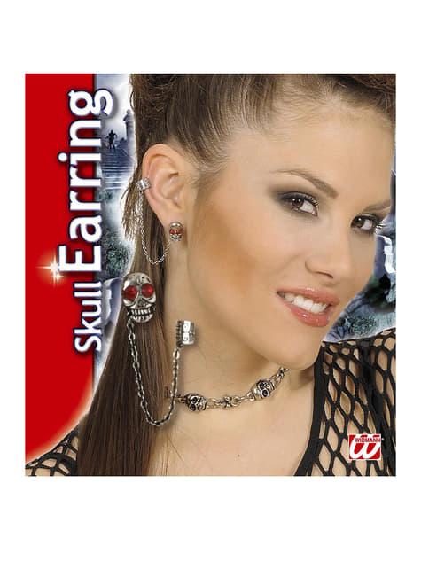 Earring with dangling skull