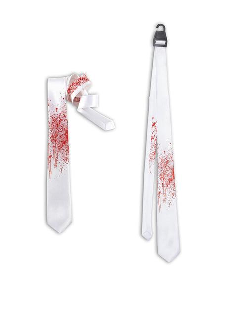 Krawat biały zakrwawiony