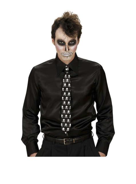 Czarny krawat z czaszkami