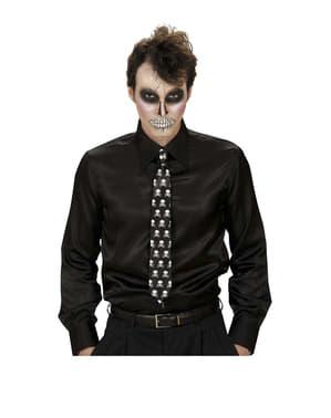 Zwarte stropdas met doodshoofden