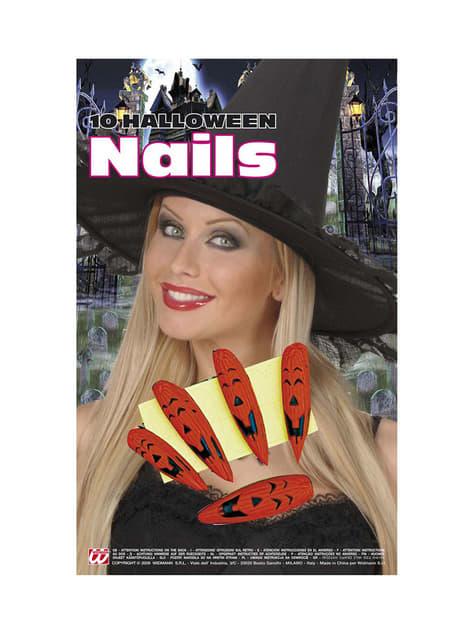 Set de uñas de calabaza halloween