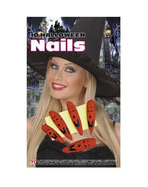 Sett med Halloween Gresskar Negler