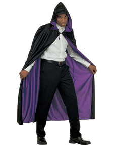 reversible cape with black and purple hood