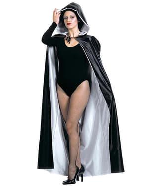 Mantello reversibile con cappuccio bianco e nero