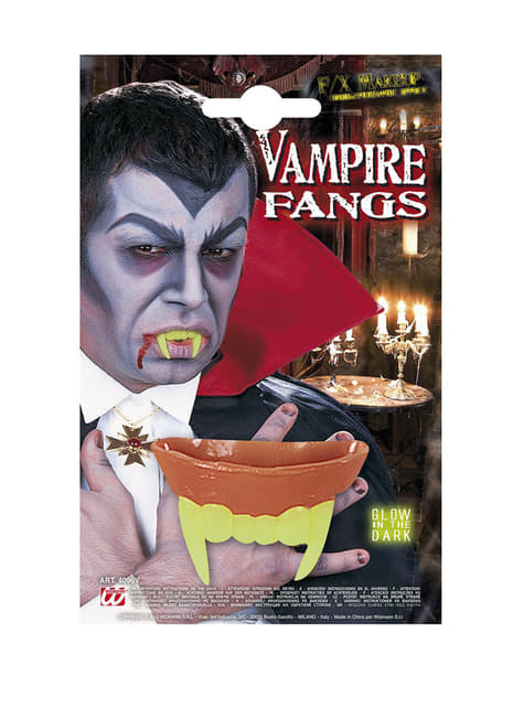 Dientes de vampiro fluorescentes para adulto - para tu disfraz
