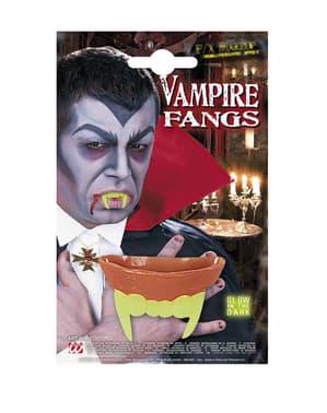 Denti fluorescenti da vampiro da adulto