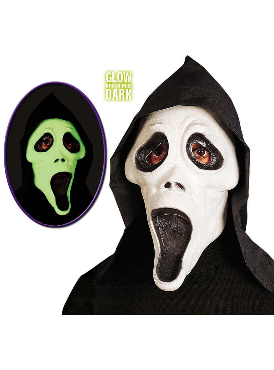 Glow-in-the-dark Scream Ghost Mask with Hood