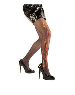 Ciorapi cu flăcări și sclipici negru