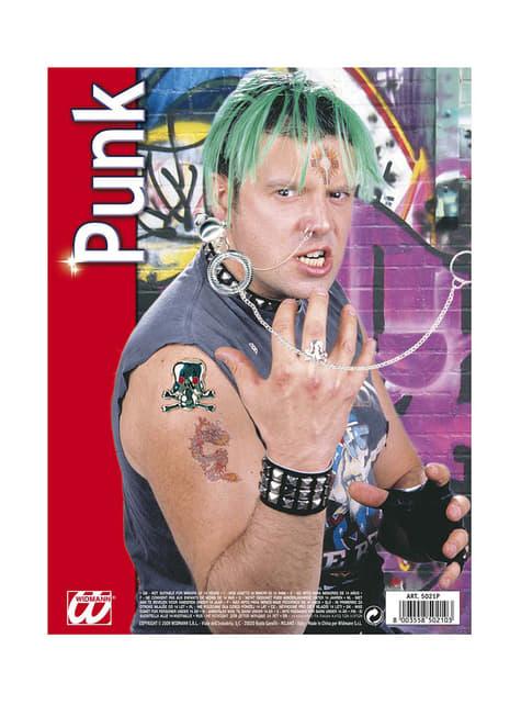 Kolczyki z łańcucha i pierścionek punk