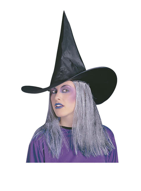 Sombrero de bruja con pelo gris