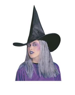 Chapéu de bruxa com cabelo cinzento