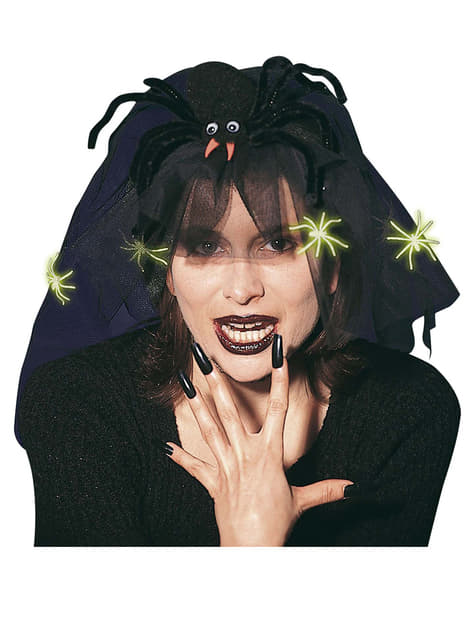 Spider Hair Accessory with Veil and Glow-in-the-dark Spiders