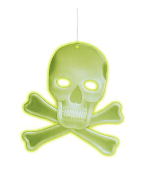 Tête de mort suspendue 3D à os fluo