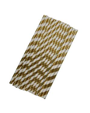 25 pailles blanches et dorée en carton - Glitz & Glamour Black & Gold
