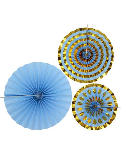 3 Leques de papel decorativos azuis - Pattern Works