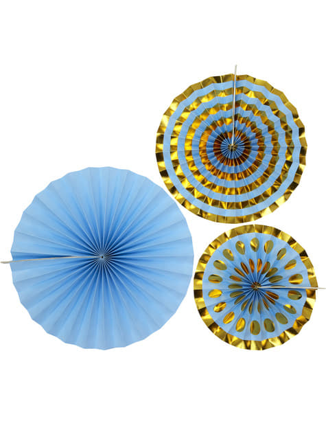3 decorative paper fans in  blue - Pattern Works