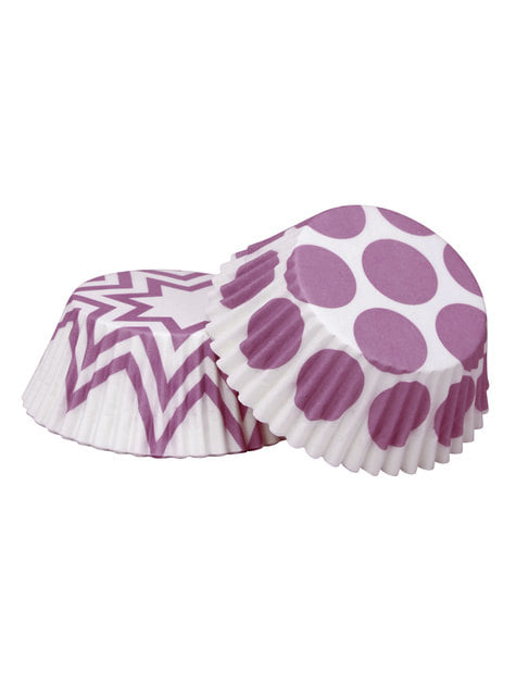 100 bases para cupcakes moradas - Pattern Works Purple - para tus fiestas