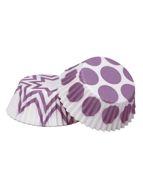 100 moules à cupcakes violets en carton - Pattern Works
