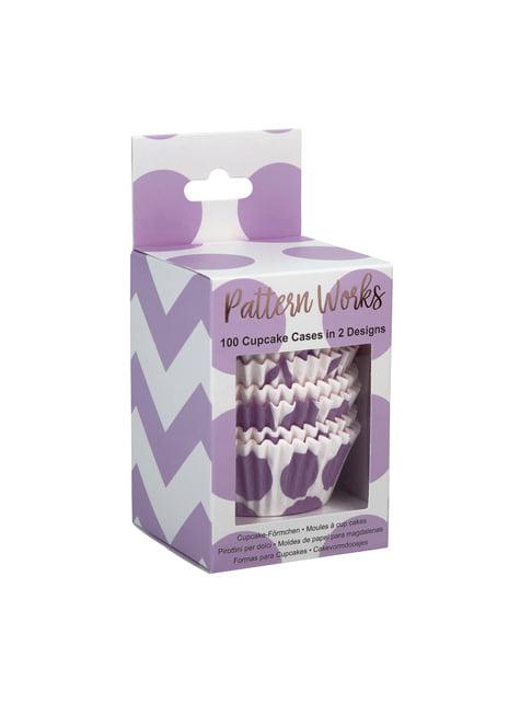 100 bases para cupcakes moradas - Pattern Works Purple - para niños y adultos