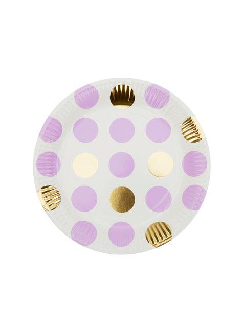 8 platos de lunares morados y dorados (25 cm) - Pattern Works Purple