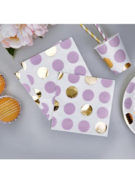 16 servilletas de lunares morados y dorados (33x33 cm) - Pattern Works Purple