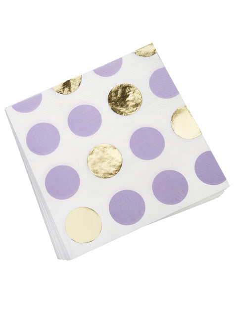 16 serviettes à pois violets et dorés en papier - Pattern Works