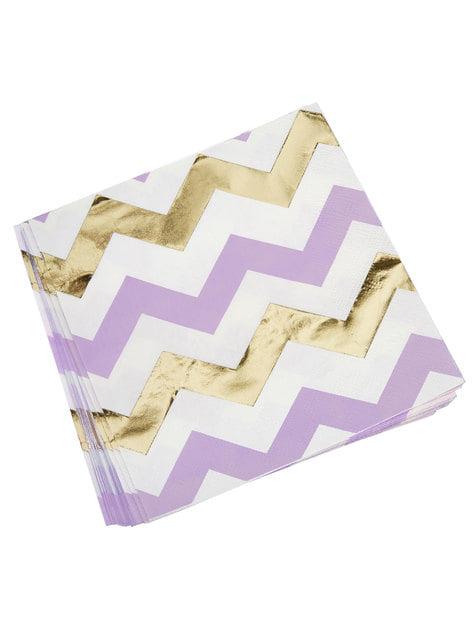 16 servilletas de zigzag morado y dorado (33x33 cm) - Pattern Works Purple