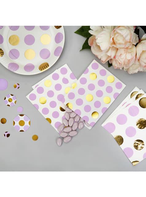 25 sachets à pois violets et dorés en papier - Pattern Works
